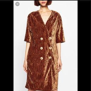 Crushed Velvet Button Dress